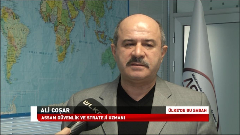 Iمقابلة مع الخبير الامني والاستراتيجي لجمعية ASSAM السيد علي جوشار حيث أجرت المقابلة مراسلة محطة ÜLKE TV ايبرو كاجار بتاريخ 19 آذار/ مارس 2018 وتم عرضها في نشرة الأخبار المسائية.