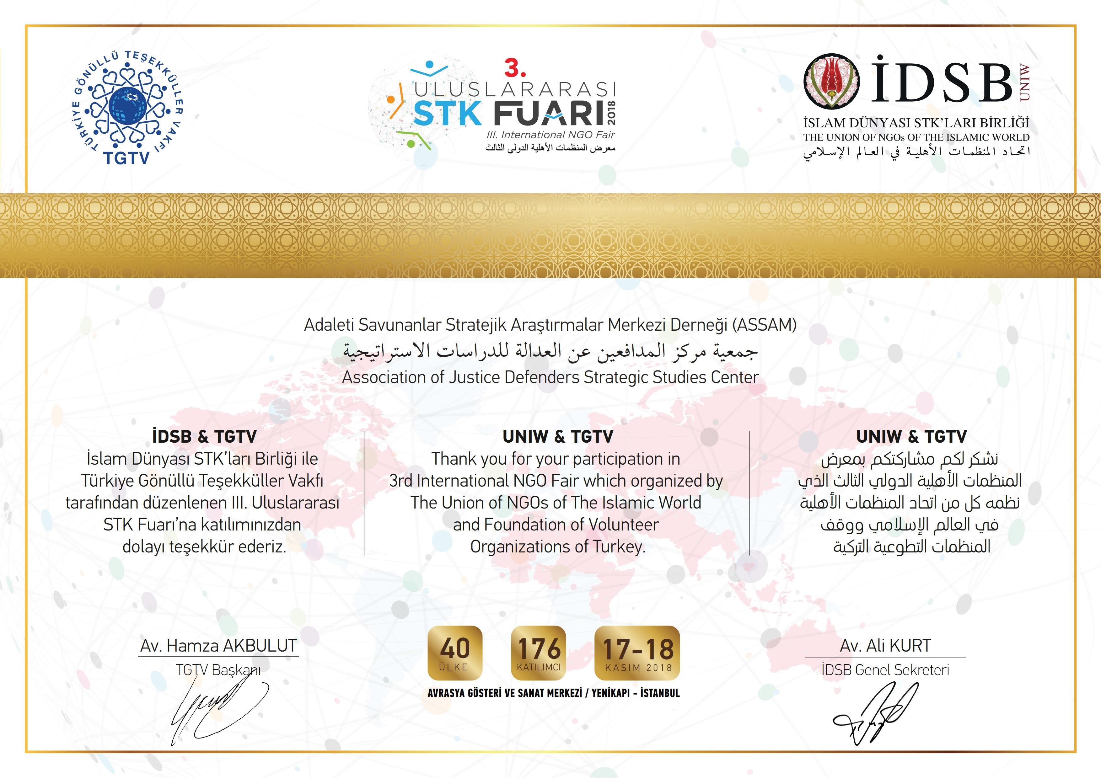 I3. Uluslararası STK Fuarında ASSAM'a Teşekkür Mektubu